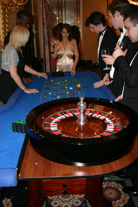 roulette with blue table