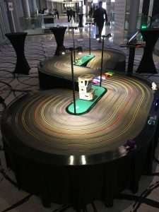 Giant scalextric hire london docklands corporate event